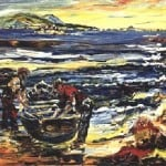 Print Ltd Ed : Ar Thraig an Chlochair; On Clogher Strand by Liam O'Neill: Irish art at The Greenlane Gallery