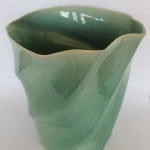 Clear Green Large Ripple Vase by Lone O'Reilly
