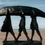 Three Men and Currach (large) by Hans Blank
