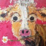 Original : Pink Cow with Daisy by Deborah Donnelly