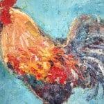 Cockerel on Blue 48cm x 47cm