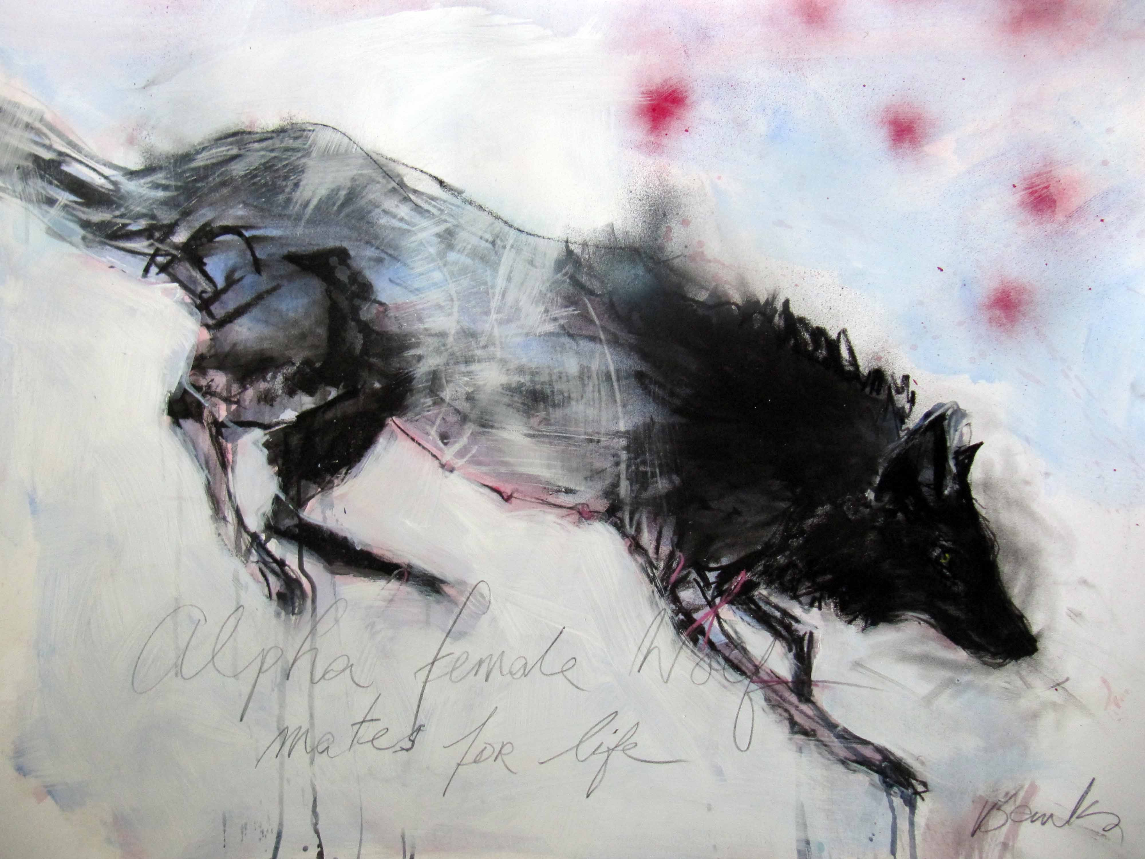 Female Wolf Mates for Life, Acyrlic & Mixed Media, 70 x 100 cm