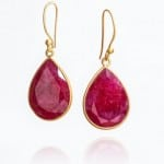 Azure collection, Ruby Large Tear Drop Earrings