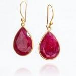Ruby Single Teardrop Earrings by Mary-K Jewellery