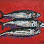 Mackerel on Red by Michael Flaherty