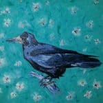 Crow on Turquoise Daisys by Michael Flaherty
