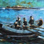 Three Men and a Currach, Under the Blasket Island by Michael Flaherty