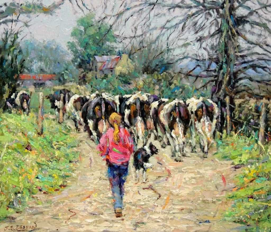 james-brohan-milking-time-oil-on-canvas-60-x-70-cm