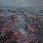 Patsy Farr, 'Smerwick, Pink Rocks Hidden Jasper', Oil on Canvas, 40 x 40 cm