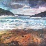 Cloghar, Bun an tSrutháin, acrylic & mixed media on canvas, 40 x 50 cm, €1,400