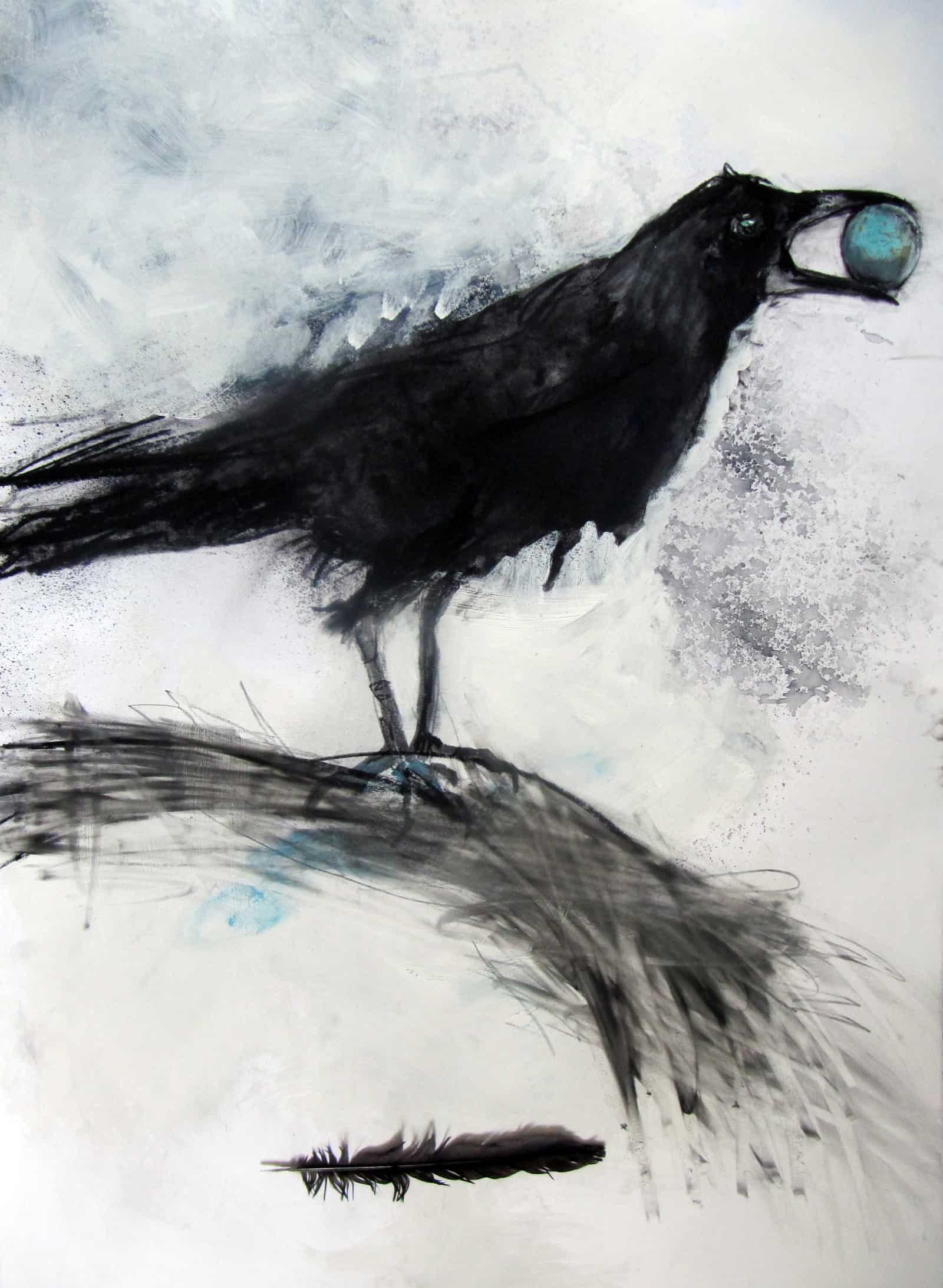 Feather, Mixed Media in Fabriano Paper, 100 x 70 cm