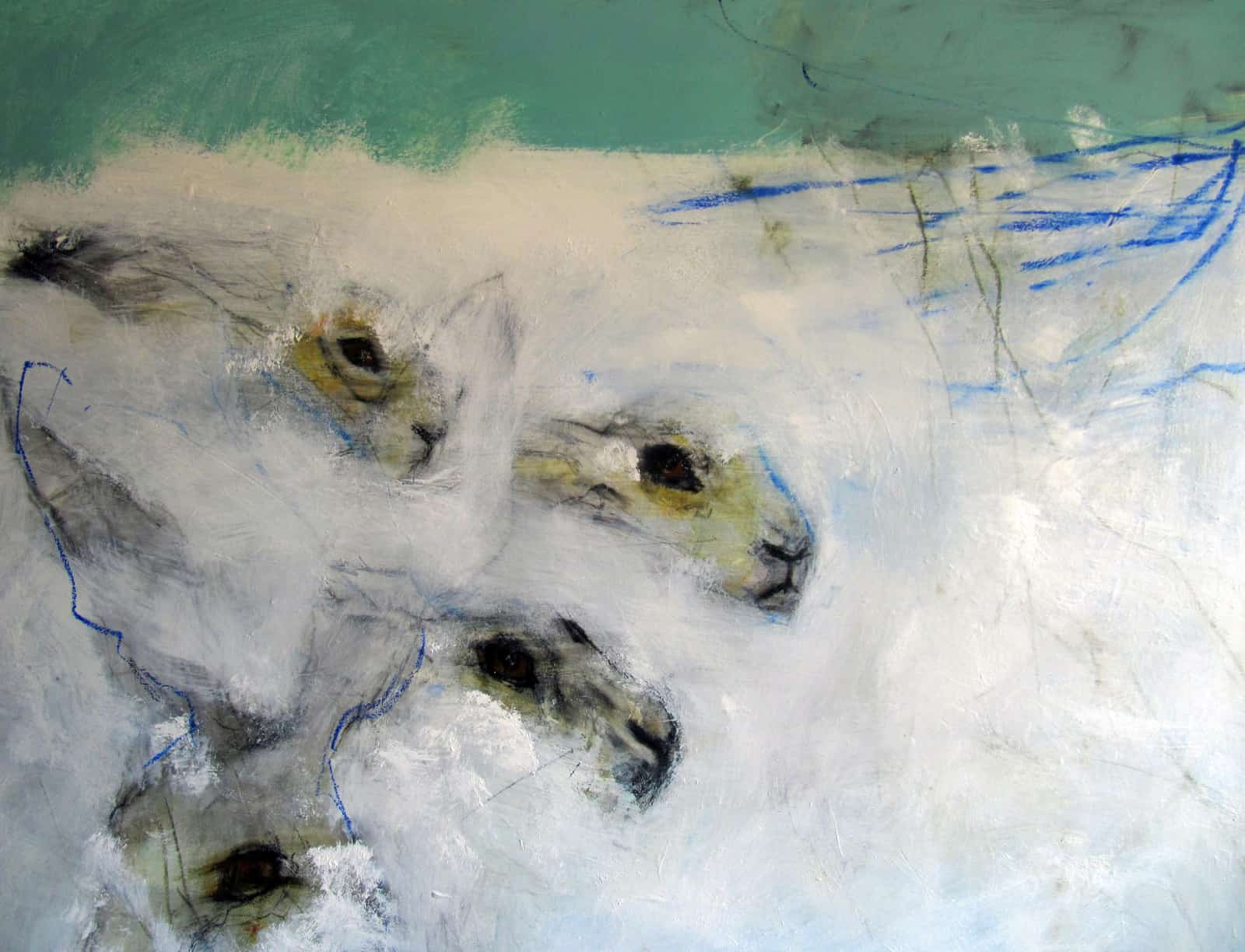 Four Hares in Snow, Oil on Canvas, 80 x 1 00cm
