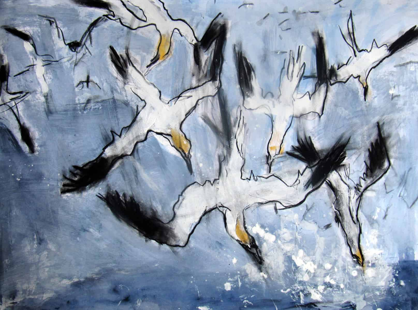 Gannets in Kells Bay, Mixed Media on Fabriano Paper, 70 x 100 cm