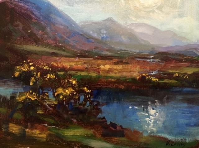 Glentnassig, Furze & Heather, oil on canvas, 20 x 25 cm