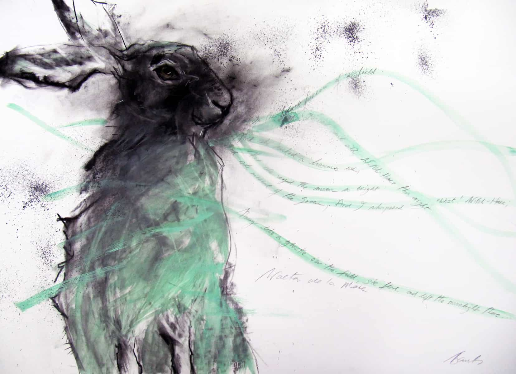 Green Hare, Charcoal Acrylic on Fabriano Paper, 70 x 100cm