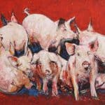 Pigs, Oil on Panel, 24 x 30 Inches