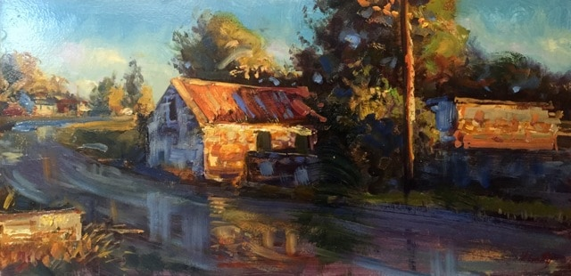 Rusty Roof in Evening Light, oil on canvas, 31 x 61 cm