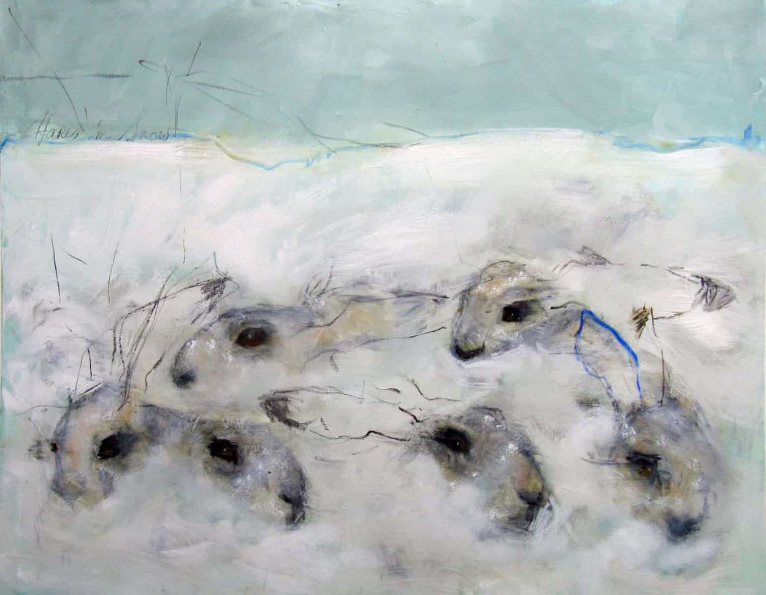 Six Hares in Snow, Oil on Canvas, 80 x 100cm