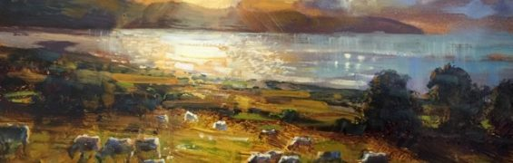 Summer Evening Sundown, oil on canvas, 31 x 41 cm