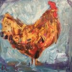 Cockerel on Blue II by Deborah Donnelly: Irish art at The Greenlane Gallery