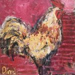 Cockerel on Pink by Deborah Donnelly