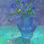Spring Flowers in Blue Glass by Patsy Farr