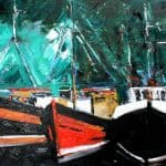 Dingle Harbour Boats by Michael Flaherty: Irish art at The Greenlane Gallery