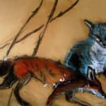 Blue vixen has found her cub by : Irish Art by Greenlane Gallery Dingle