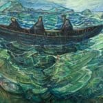 Leaving the Great Blasket Island by Liam Holden: Irish art at The Greenlane Gallery
