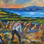 Harvesting Oats by the Sleeping Giant by Liam O'Neill: Irish art at The Greenlane Gallery