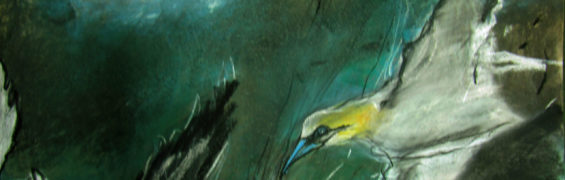 Gannets Finian's Bay 70x100cm Mixed Media on Paper