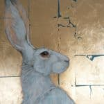 WINTER HARE ON GOLD by SYLVIA PARKINSON BROWN: Irish Art by Greenlane Gallery Dingle